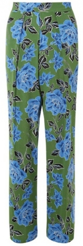 Dorothy Perkins Green Floral Print Palazzo Trousers Trouser