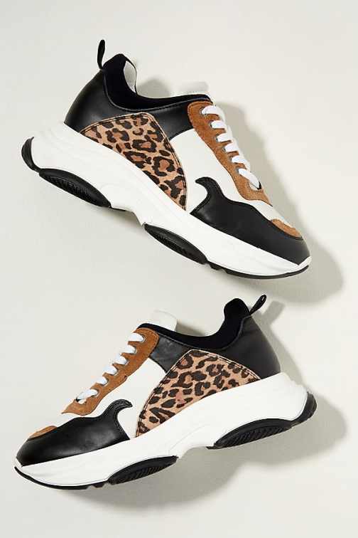 Just Female Leopard Print-Trimmed Leather Trainer