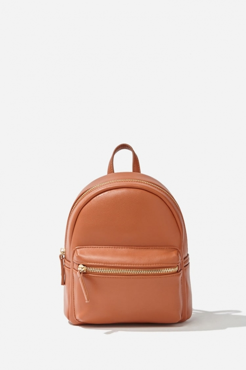 Forever21 Forever 21 Faux Leather Mini , Tan Backpack