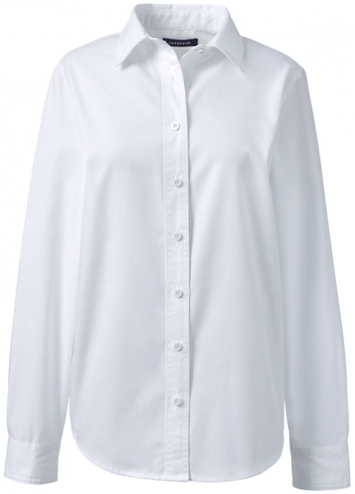 Lands' End Women's Long Sleeve Basic Twill - Lands' End - White - M Shirt