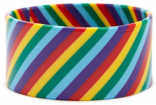 Forever21 Forever 21 Wide Rainbow-Striped Bangle , Red/multi Bracelet