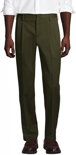 Lands' End Men's Traditional Fit Pleated No Iron Pants - Lands' End - Green - 31 Chino
