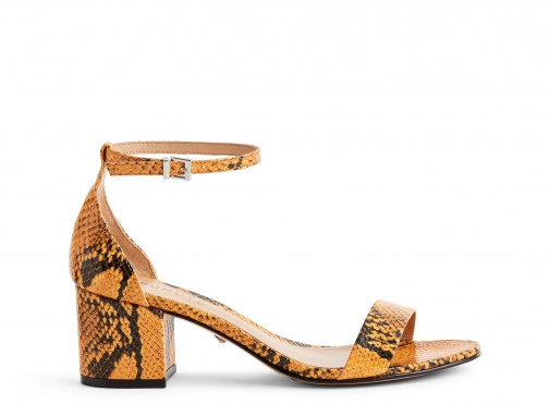 Schutz Shoes Chimes Sandal - 6 Mary Gold Snake Multi Snake Embossed Leather Sandals