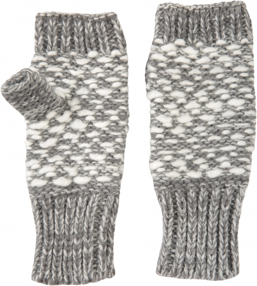 Mountain Warehouse Patterned Fingerless Knitted Womens Mittens - Grey Glove
