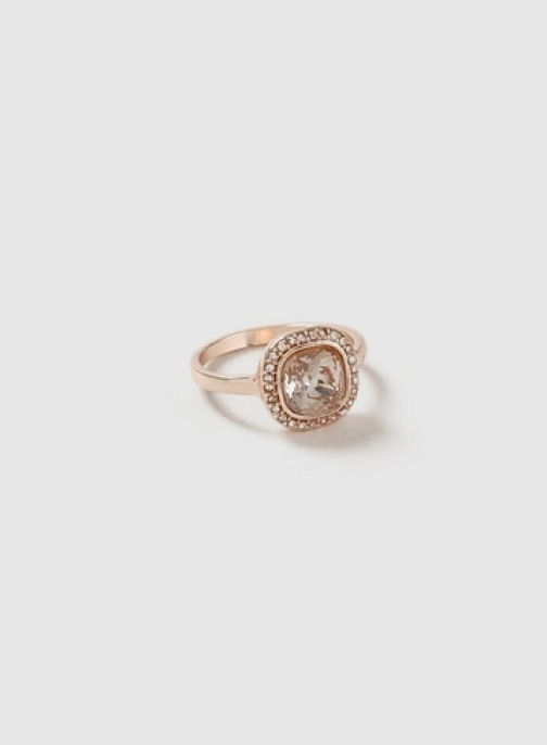 Dorothy Perkins Womens Rose Gold Square Stone - Rose Gold, Rose Gold Ring