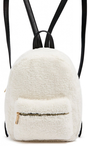 Forever21 Forever 21 Faux Shearling & Faux Leather Cream Backpack