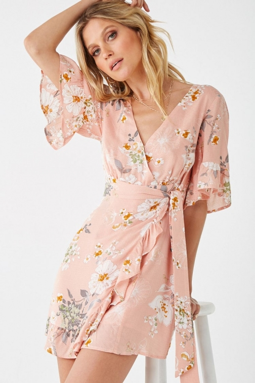 Forever21 Forever 21 Floral Ruffle Romper , Peach/multi Jumpsuit