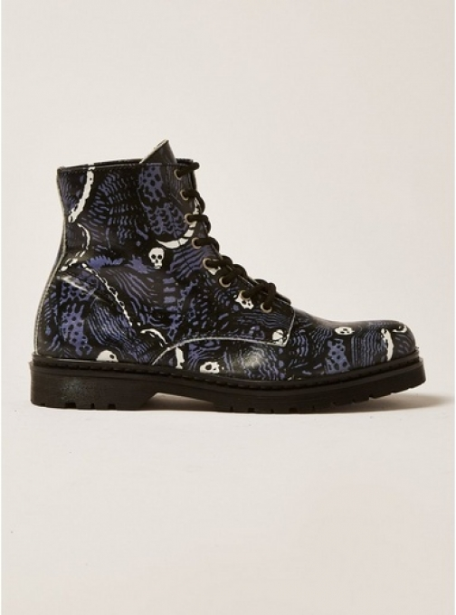 Topman Mens Black Leather Forge Print , Black Boot