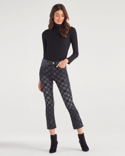 7 For All Mankind Women's Luxe Vintage High Waist Slim Kick With Lattice Aplique Coal Trouser