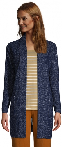 Lands' End Women's Long Sleeve Textured Open - Lands' End - Blue - XS Cardigan