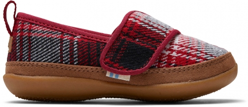Toms Red Plaid Tiny TOMS Inca Slippers