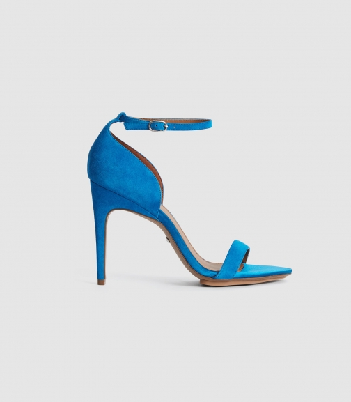 Reiss Paula - Suede Strappy Cobalt Blue, Womens, Size 3 Sandals