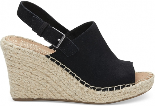 Toms Black Suede Women's Monica - Size UK7.5 / US9.5 Wedge