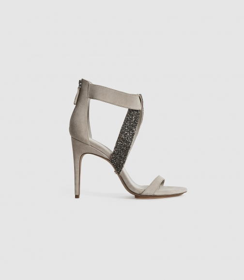 Reiss Jewel - Embellished Stiletto Heels Taupe, Womens, Size 3 Shoes