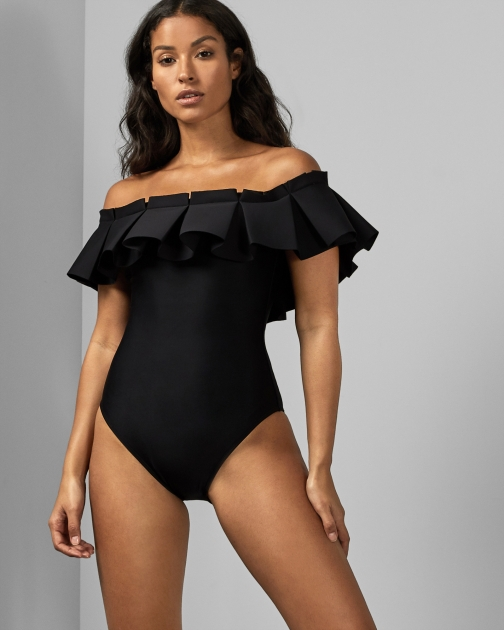 Ted Baker Box Pleated Bardot Swimsuit