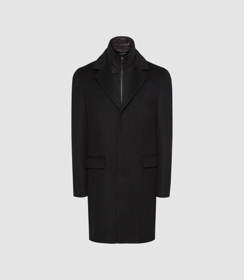 Reiss Coal - Overcoat With Removable Insert Black, Mens, Size XS Jacket