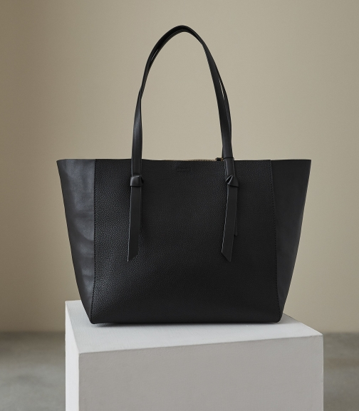 Reiss Kate - Leather Bag Black, Womens Tote