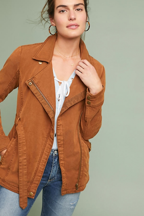 Anthropologie Faux Suede Moto - Green, Size Jacket