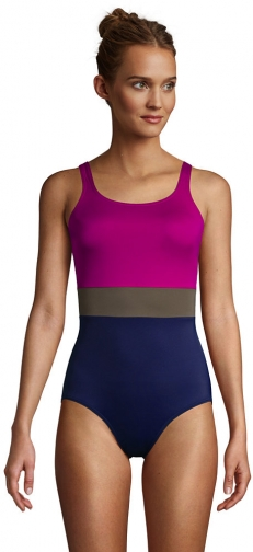 Lands' End Women's Chlorine Resistant Scoop Neck Soft Cup Tugless Sporty One Piece - Lands' End - Pink - 2 Swimsuit