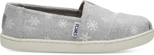 Toms Drizzle Grey Snowflakes Youth Classics Slip-On Shoes