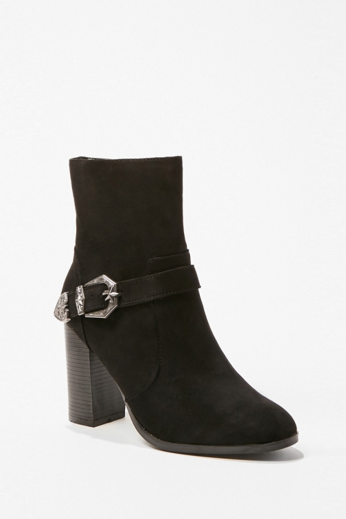Forever21 Forever 21 Buckle Accent , Black Ankle Boot