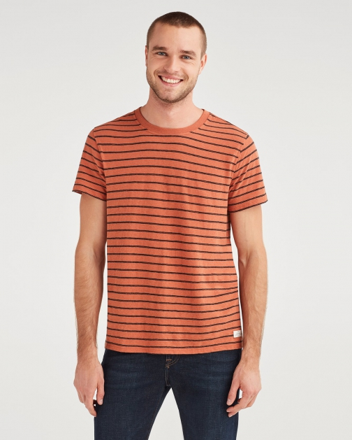 7 For All Mankind Men's Striped Boxer Pocket Tee Clay With Black Stripe T-Shirt