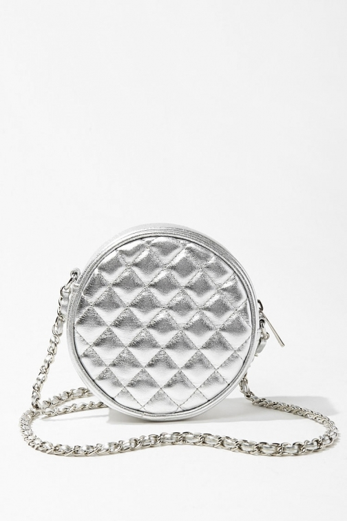 Forever21 Forever 21 Quilted Faux Leather Crossbody , Silver Crossbody Bag