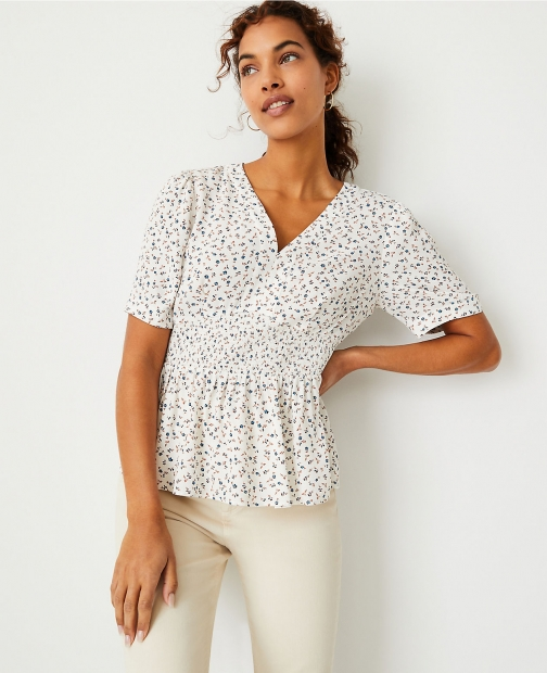 Ann Taylor Floral Smocked Waist Top Shirt