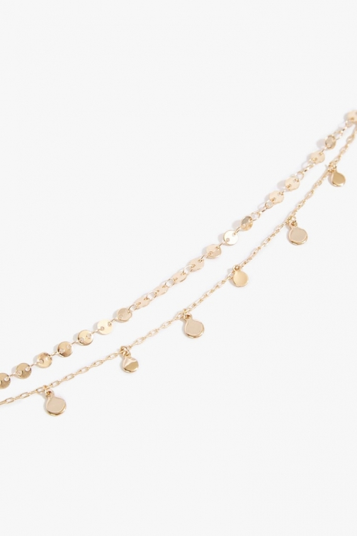 Forever21 Forever 21 Disc Charm Layered , Gold Necklace