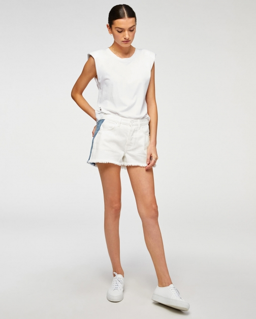 7 For All Mankind Womens Monroe Cut-Off Short Clean White/Haven Size: 24 Trouser