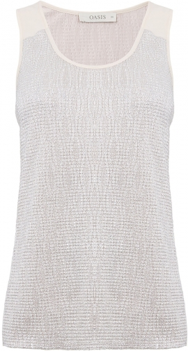 Oasis CRINKLE FOIL WRAP BACK VEST Top