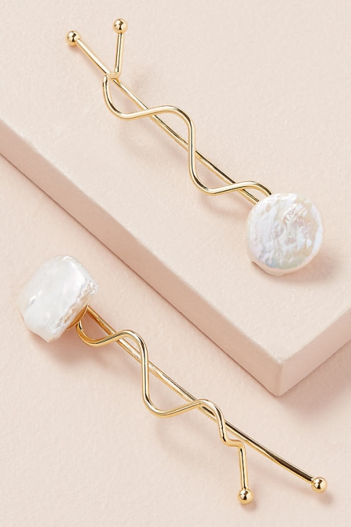 Anthropologie Pack Of 2 Freshwater Pearl Hair Slides Slider
