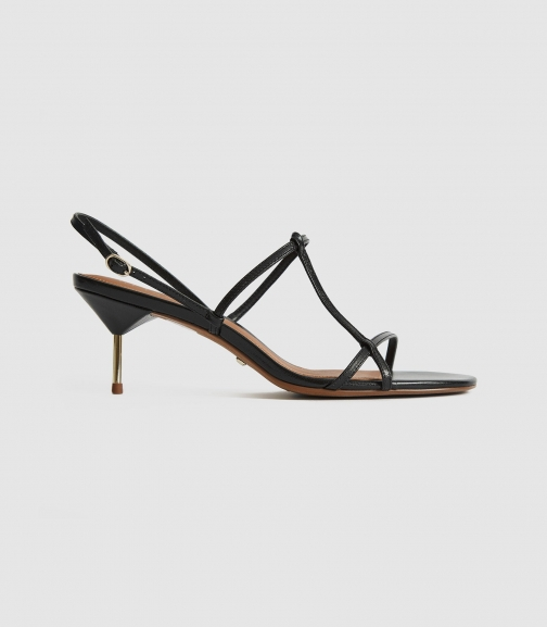 Reiss Ophelia - Leather Strappy Kitten Heels Black, Womens, Size 3 Sandals
