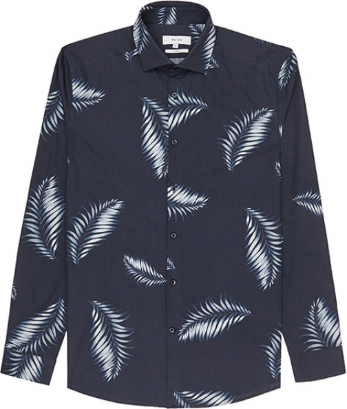 Reiss Island Palm Print Shirt