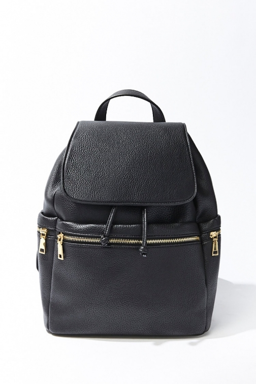 Forever21 Forever 21 Pebbled Faux Leather , Black Backpack