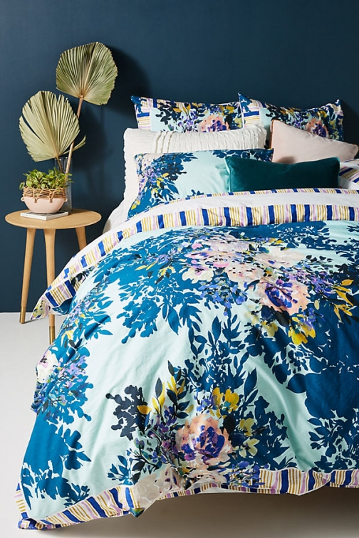 Anthropologie Jewelled Garden Duvet Cover - Blue, Size Tw /bed Top