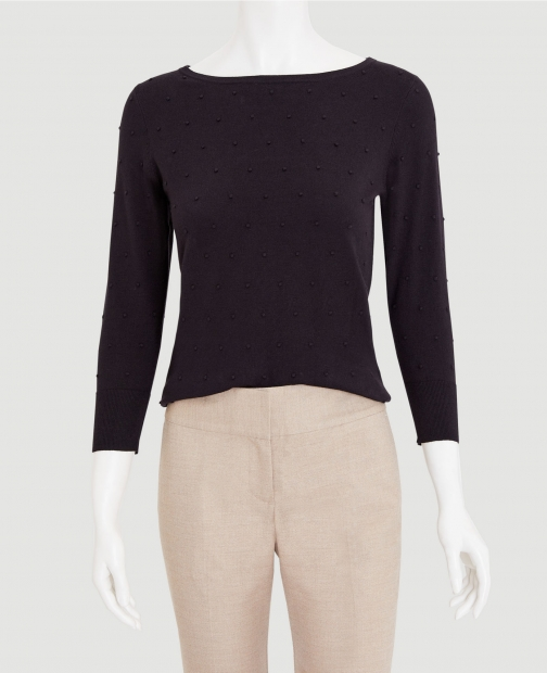 Ann Taylor Factory Dot Textured Boatneck Sweater Sweatshirt