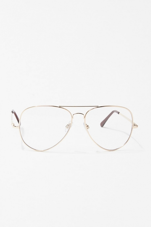 Forever21 Forever 21 Metallic Aviator Readers , Gold/clear Eyewear