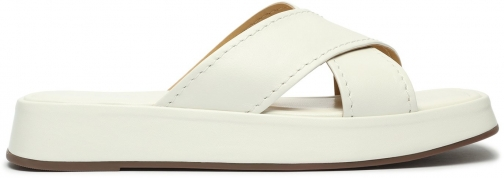 Schutz Shoes Teena Leather Flat Sandal - 5 White Leather Sandals