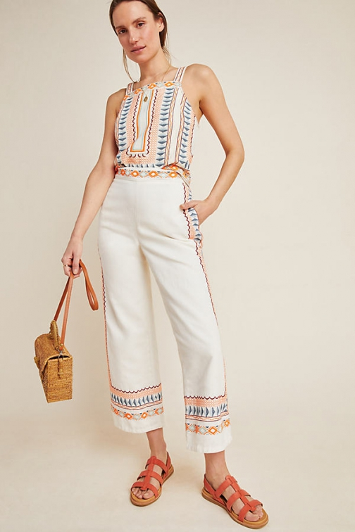 Anthropologie Islander Embroidered Trousers Trouser