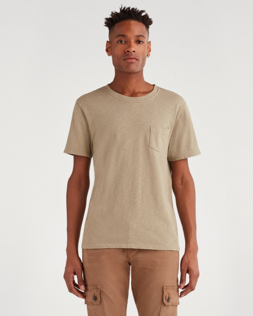 7 For All Mankind Men's Boxer Pocket Tee Army T-Shirt