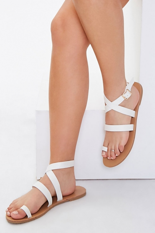 Forever21 Forever 21 Wraparound Toe-Loop , White Sandals