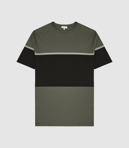 Reiss Block - Tonal Cotton Khaki, Mens, Size XS T-Shirt
