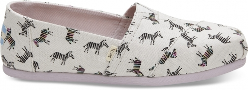 Toms Black/White Zebra Print Women's Classics Slip-On Shoes