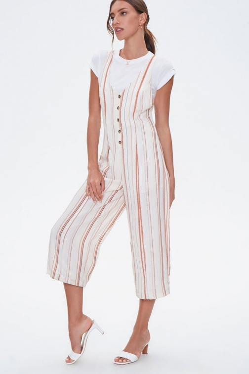 Forever21 Forever 21 Striped Culotte , Beige/rust Jumpsuit