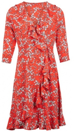 Dorothy Perkins Womens *Izabel London Red Ditsy Floral Print Wrap - Red, Red Dress
