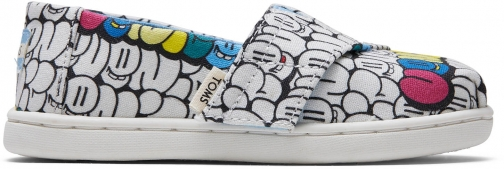 Toms White Bubble Print Tiny TOMS Classics Slip-On Shoes