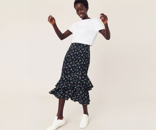 Oasis Ditsy Floral Midi Skirt