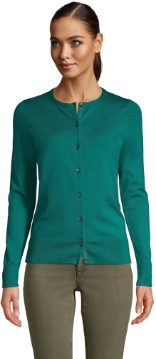 Lands' End Women's Supima Cotton Sweater - Lands' End - Green - XS Cardigan