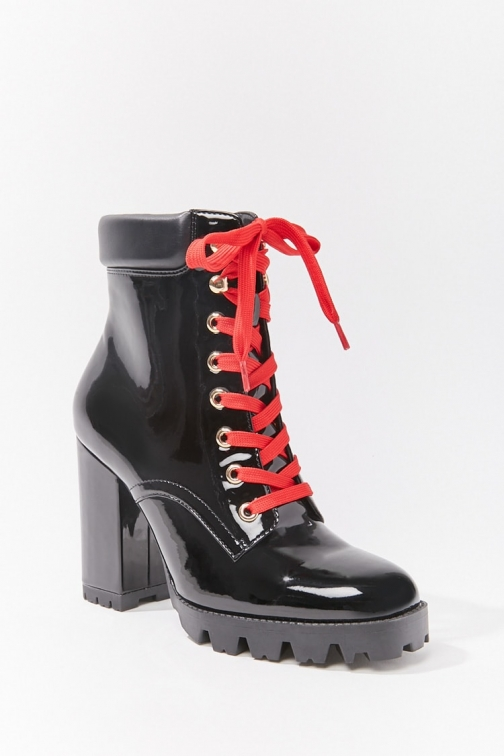 Forever21 Forever 21 Faux Patent Leather , Black Ankle Boot